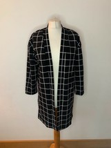 Girls SHEIN Open Front Coatigan Jacket Age 11 - 12 Black White Grid Check - $13.19