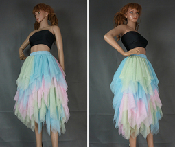 Love Me More Tulle Layered Skirt Pink High Low Long Layered Tulle Skirt Adults image 8