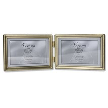 Lawrence Frames Antique Brass 4x6 Hinged Double Horizontal Picture Frame... - $23.38