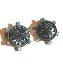 VINTAGE JULIANA MOLDED GLASS FLOWERS RHINESTONE CLIP ON EARRINGS - $45.00