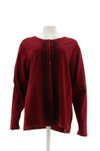 Tommy Hilfiger Knopfverschluss Langärmelige Pullover Strickjacke Rot/Mar... - $61.35