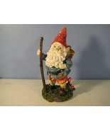 """Cast Resin Gnome Figurine 8"""" with Mushrooms and Staff - $10.82"""