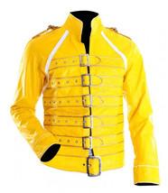 Freddie Mercury Wembley Concert Military Strap Queen Yellow Leather Biker Jacket image 1