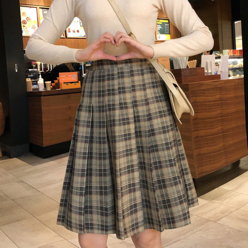 Knee Length Black Plaid Skirt School Girl Plus Size Knee Pleated PLAID SKIRTS image 8