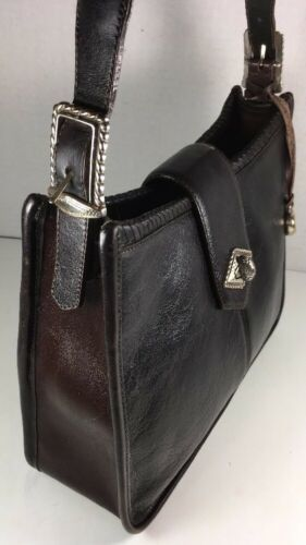 Brighton Vintage Black with Brown Trim Shoulder Bag-Distressed