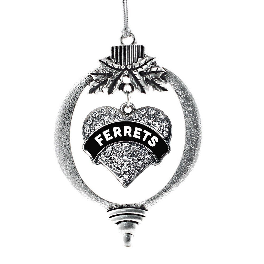 Primary image for Inspired Silver Black and White Ferrets Pave Heart Holiday Ornament