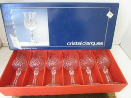 Cristal D'arques Set Of 6 Crystal Cordialglasses 4.5OZ W/BOX Longchamp France - $18.76