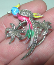 VINTAGE ENAMEL BIRD OF PARADISE FLOWER SILVER TONE BROOCH PIN - $75.00