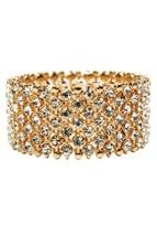 Wide Gold Rhinestone Bracelet, Clear Rhinestone Stretchable Bracelet