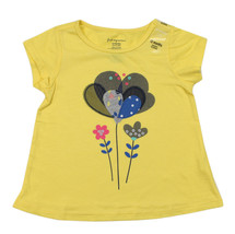 First Impressions New Infant Girls Floral Applique Yellow T Shirt Tee 12M - $8.90