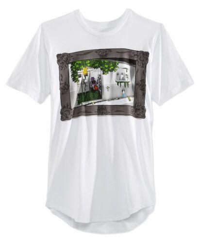 American Rag Mens Jungle Print Asymmetrical Hem T-Shirt Medium M White $30