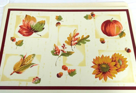 Lot of 6 Harvest Accents Rectangular Vinyl Table Place Mats Sunflower, P... - $13.33