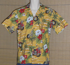 Hawaii Brand Hawaiian Shirt Yellow Red Motorcycles Size Small - $21.99
