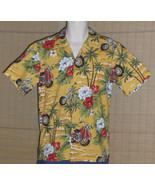 Hawaii Brand Hawaiian Shirt Yellow Red Motorcycles Size Small - $18.95