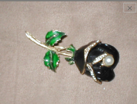 Rare vintage 1940's Large 3D Enamel Black Rose Brooch signed ART - $30.00