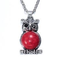 OWL BE RED FOR YOU NECKLACE >> COMBINED SHIPPING <<   (6962) - $3.71