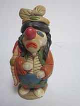 VINTAGE CLAY & SEASHELLS INDIAN BRAVE FIGURINE - $9.99