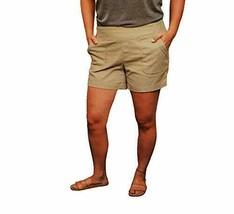 Wahine Blue Women Linen & Cotton Lightweight Shorts Light Khaki L - $19.99