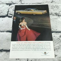 1963 Vtg Cadillac Print Ad Man In Tuxedo Woman In Red Ball Gown - $9.89