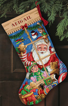 Dimensions Gold Collection Counted Cross Stitch Kit Santa's Toys Stocking - $35.85