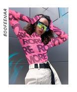 BOOFEENAA Sexy T Shirt Graphic Tees Women Letter Print Pink Mesh High Ne... - $22.84