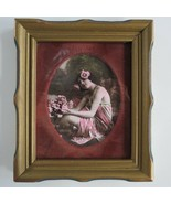 Antique Nude colorized Hawaiian Girl wood framed behind glass Risque red... - $247.49