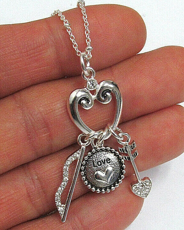 Primary image for Bow and Arrow Love Charm Pendant Necklace White Gold NEW