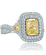 Cushion Halo 2.07Ct Diamond Engagement Ring Trillion Side 18k Gold Twist... - $3,727.00