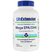 Life Extension Mega EPA/DHA 120gels Molecularly Distilled Vitamin E - $15.00