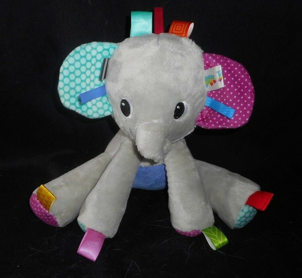 Primary image for TAGGIES BRIGHT STARTS PLAY PALS BABY GREY ELEPHANT RATTLE STUFFED ANIMAL PLUSH