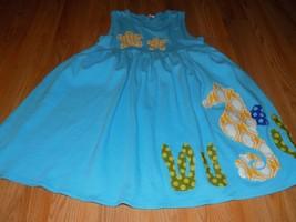 Size 8 Monag Blue Sleeveless Casual Summer Dress Seahorse Star Fish Sea ... - $22.00