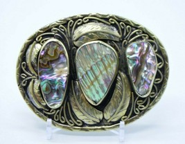 Abalone Shell Navajo Made Mexican Silver Men's Large Belt Buckle - $197.99