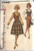 Sin Cortar Vintage Simplicity Patrón de Costura Misses Blusa Weskit 2 Faldas - $4.83