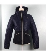 4F Womens Small Puffer Jacket Dark Blue Black Removable Hood Zippered Po... - $92.55