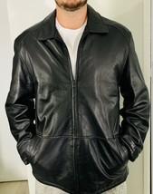 Marc New York Men's Black Lambskin Leather Zip up moto classic Coat Jack... - $75.00