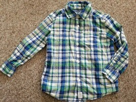 CARTER'S Blue Green Plaid Long Sleeved Button Front Shirt Boys Size 4T - $3.66