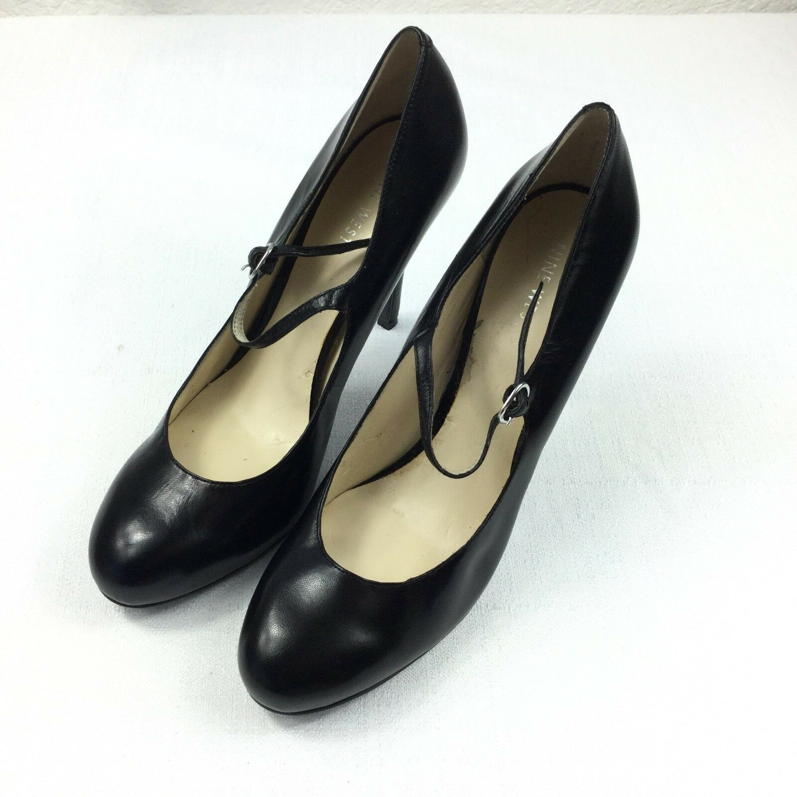 Nine West Women Size 8.5 Black Leather Heel Shoes