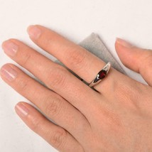 1.00Ct Oval Cut Red Garnet Solitaire Women Engagement Ring 14k White Gol... - $83.94