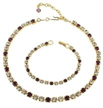 VINTAGE TRIFARI PURPLE  CRYSTAL LINK GOLD TONE NECKLACE & BRACELET SET 1... - $101.24