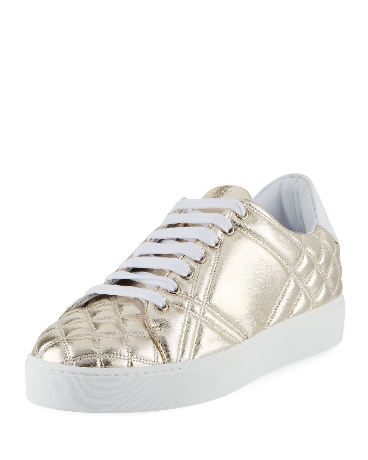 Burberry Westford Quilted Metallic Leather Low-Top Sneaker Gold Sz 40.5 $450.00 - $296.99