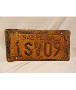 Pennsylvania PA 1942 Automobilia License Plate Used WORN - $9.99