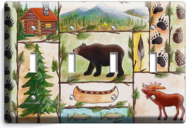 Hunting Cabin Fever Moose Grizzly Bear 4 Gang Light Switch Wall Plate Room Decor - $17.99