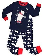 Kids Pajamas Hop Little Boys Christmas Pajamas Cotton Snow Bear Pjs Set ... - $17.23