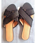Women's Sephorie Satin Frayed Crossband Slide Sandals - A New Day  Black 11 - $12.64