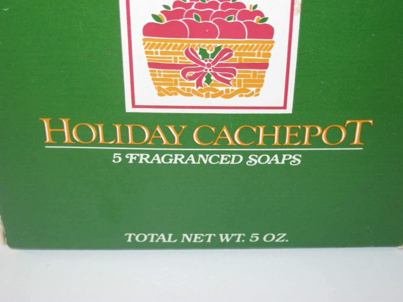 Holiday Cachepot Tin with 5 Apple Soaps 1985 NIB Box Wear