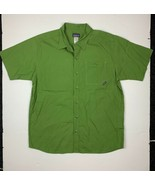 Patagonia Button Shirt Short Sleeve Organic Cotton Green Men Sz L - $36.99