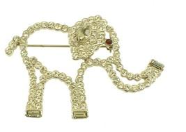 VINTAGE PAVE DIAMONTE RHINESTONE LARGE ELEPHANT TOP QUALITY DESIGNER PI - $53.99
