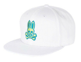 Psycho Bunny Men's Adjustable Strapback Flat Brim Baseball Cap Hat White