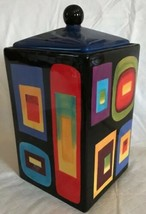Naylor Designs Cookie Jar Canister Multi Color Abstract Square Rectangle... - $19.79