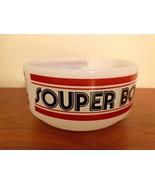 """Glasbake Soup Bowl """"Souper Bowl"""" Handle Milk Glass, Vintage Football Fun - $11.99"""